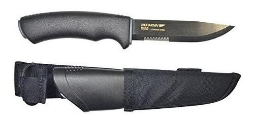 cuchillo serrado negro moracraft bushcraft con hoja de acero