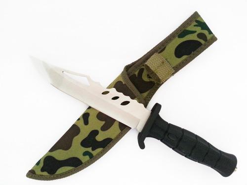 cuchillo tactico de supervivencia y combate cromado