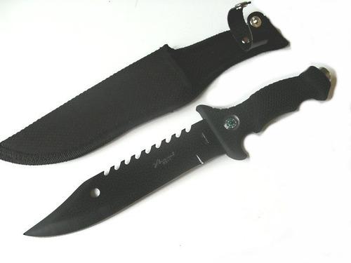 cuchillo tactico militar m2311 pavonado + pedernal + brujula