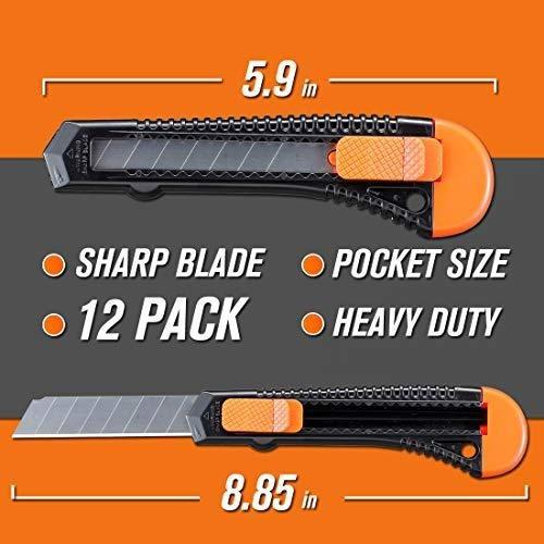 cuchillo utilitario rexbeti de 12 paquetes, cortador de caja