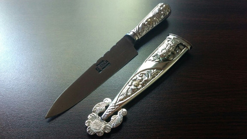cuchillo verijero 14cm. cabo y vaina de alpaca labrada fina