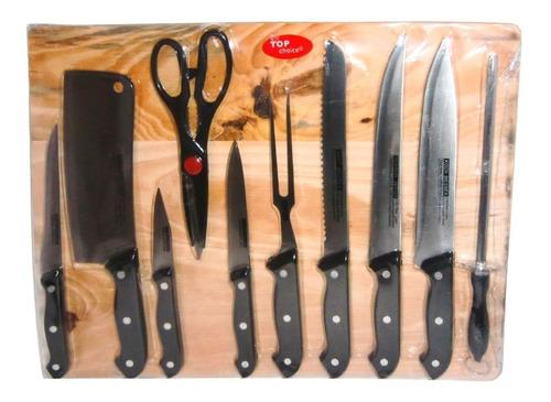 cuchillos cocina chef acero inoxidable 11pz top choice tabla