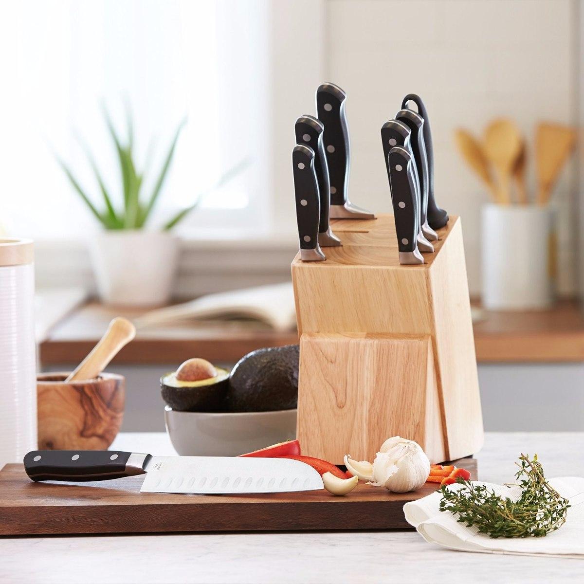 Cuchillos de cocina amazon basics premiun bloque 9 pzas for Cuchillos de cocina