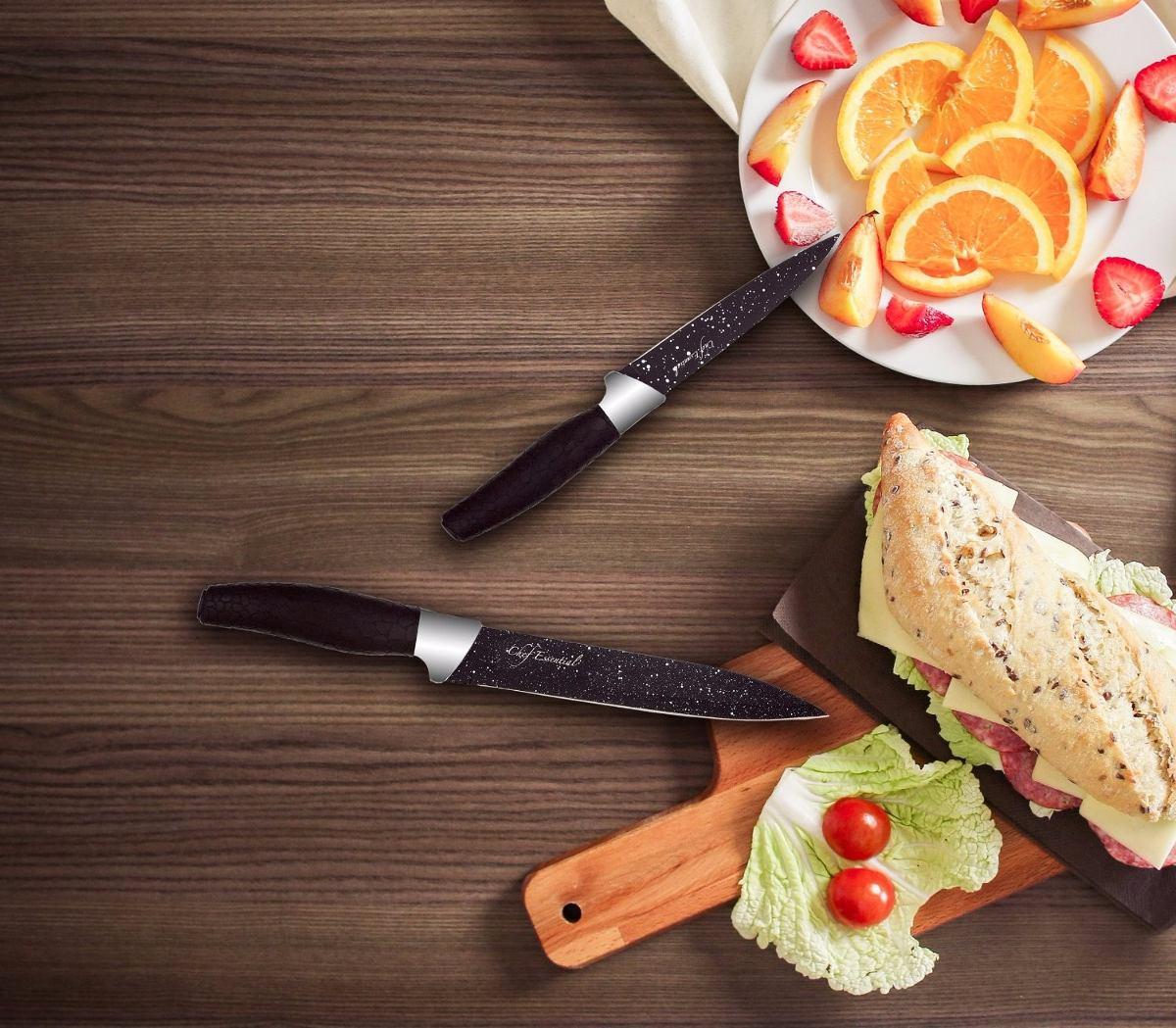 Cuchillos de cocina chef essential 6 pzas mango negro for Articulos de cocina para chef