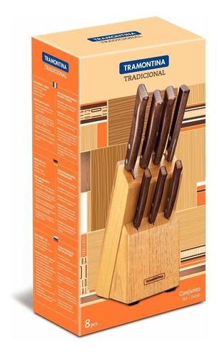 cuchillos de cocina tramontina tradicional set 7un + taco de madera