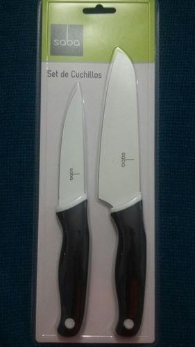 cuchillos marca saba set  2  blanco / negro