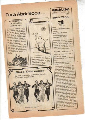cucuruchu y tio rius. no. 18. (año-1975-1976) $100.00