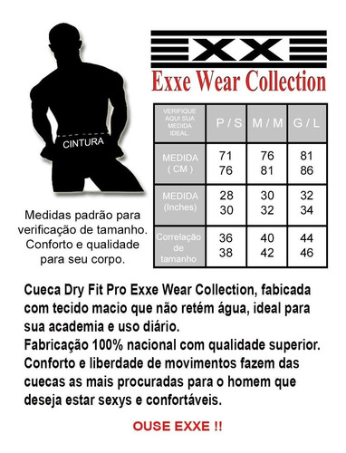 cueca slip sexy confort dry fit exxe wear