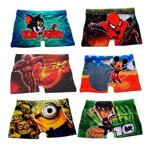 cuecas box infantil sublimadas - kit com 10