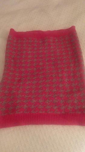 cuello bufanda rosa fucsia gris lana hym