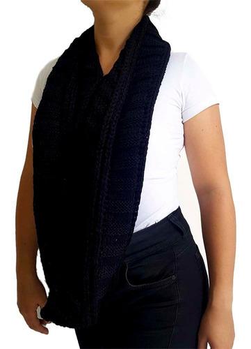 cuello bufanda tejida color negro