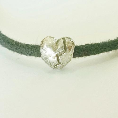 cuenta de corazon roto de plata sólida .925 sterling