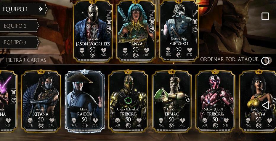 Cuenta Mortal Kombat X Mobile (105 Personajes Vii50 A Full)