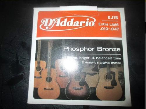 cuerda de guitarra marca d'addario ej15 extra light .010-.04