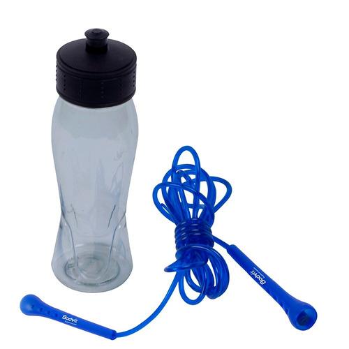 cuerda de salto con botella body fit bf-jrb015 azul