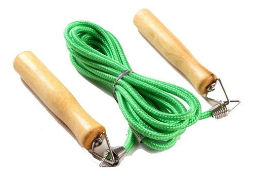 cuerda para saltar mango madera deportiva