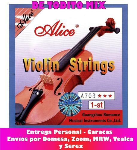 cuerda violin mi 1era individual alice  1/4 1/2 3/4 y 4/4