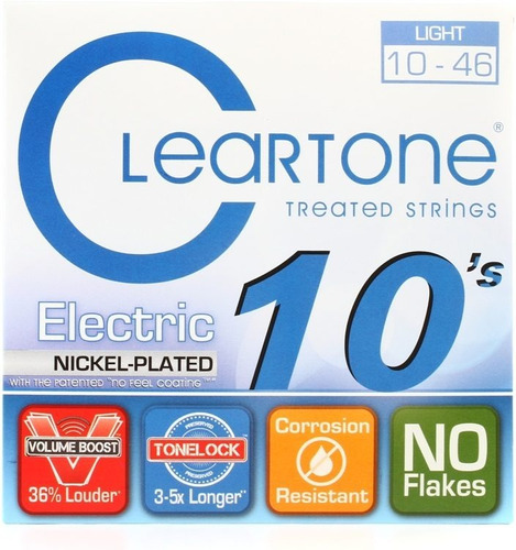 cuerdas cleartone nickel plated guitarra electrica