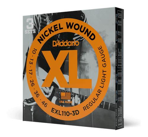 cuerdas daddario nickel wound exl110 guitarra eléctrica