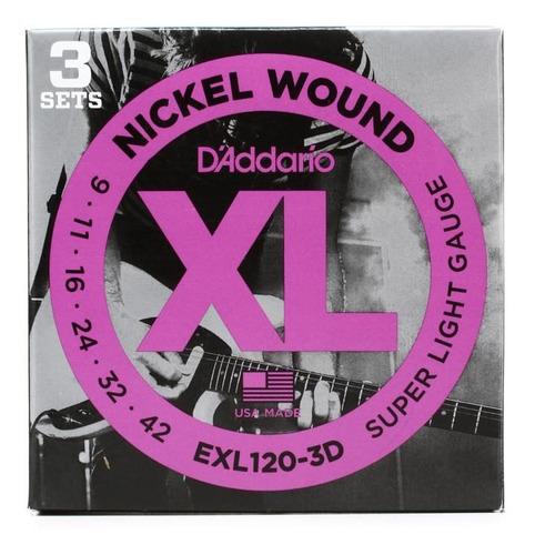 cuerdas daddario nickel wound exl120 guitarra eléctrica
