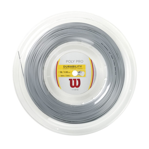 cuerdas wilson - poly pro durability 16 reel gris - tenis