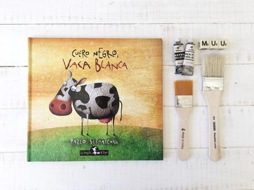 cuero negro, vaca blanca- tapa dura - libro infantil