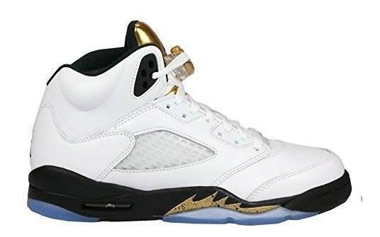 separation shoes d66ec 45304 Cuero Nike Boys Air Jordan 5 Retro Bg Olympic Gold Blanco /