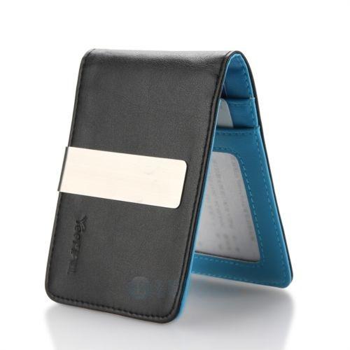 5470b3343 Cuero Plata Dinero Portaclips Carteras Slim... (black/blue ...