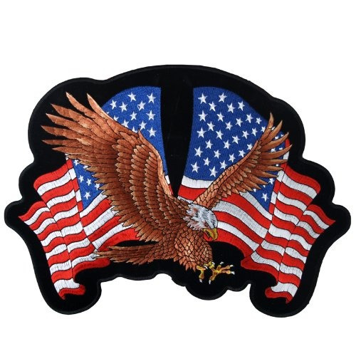 cueros calientes águila 2 banderas parche 12 ancho x 8 altur