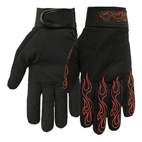 cueros guantes calientes mecánico con llamas rojo (negro, xx