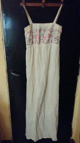 cuesta blanca: hermoso maxivestido  con bordado talle 40/s!!