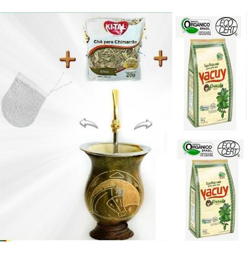 cuia porongo + bomba + 1 kg erva mate + chá + filtro