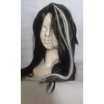 Peluca Negra Con Mechones Blancos, Halloween 42cm