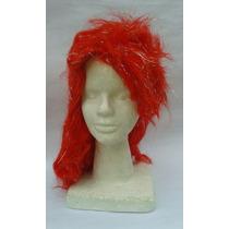 Peluca Roja Con Flecos De 37cm Para Disfraces
