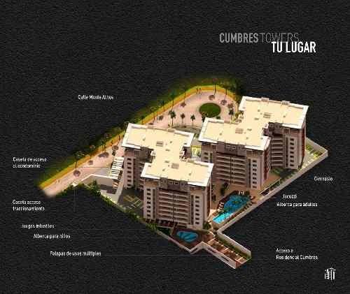 cumbres towers en la zona más trendy de cancún. tipo c. 2 recs.