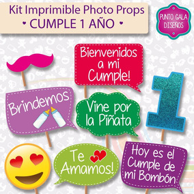 Cumple 1 Año Cartelitos C Frases Figuras Kit Imprimible
