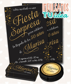 Cumple 50 Años Fiesta Sorpresa Tarjeta Y Tarjetitas Imprimir