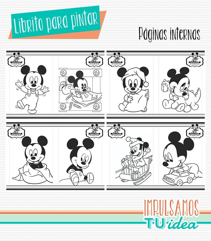 Cumple Mickey Bebé Librito Para Colorear Mickey Imprimible
