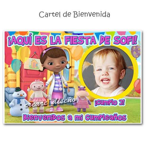 cumpleaños doctora juguete cartel + 15 souvenirs imantados