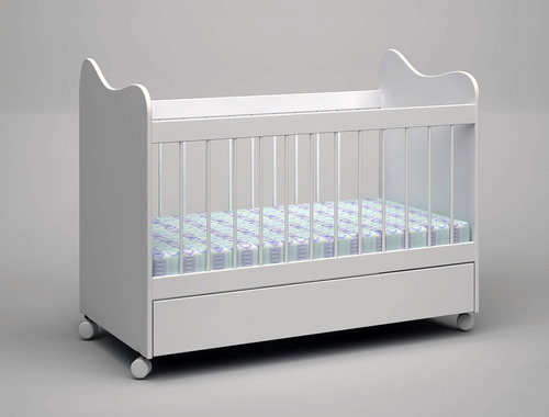 cuna+ baranda móvil+ cajón blanco+ colchón+ ruedas c/freno