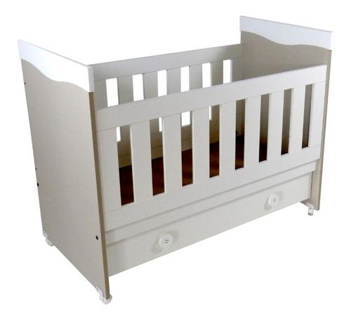 cuna bebes chariot melamina blanca con cajon baranda 1735