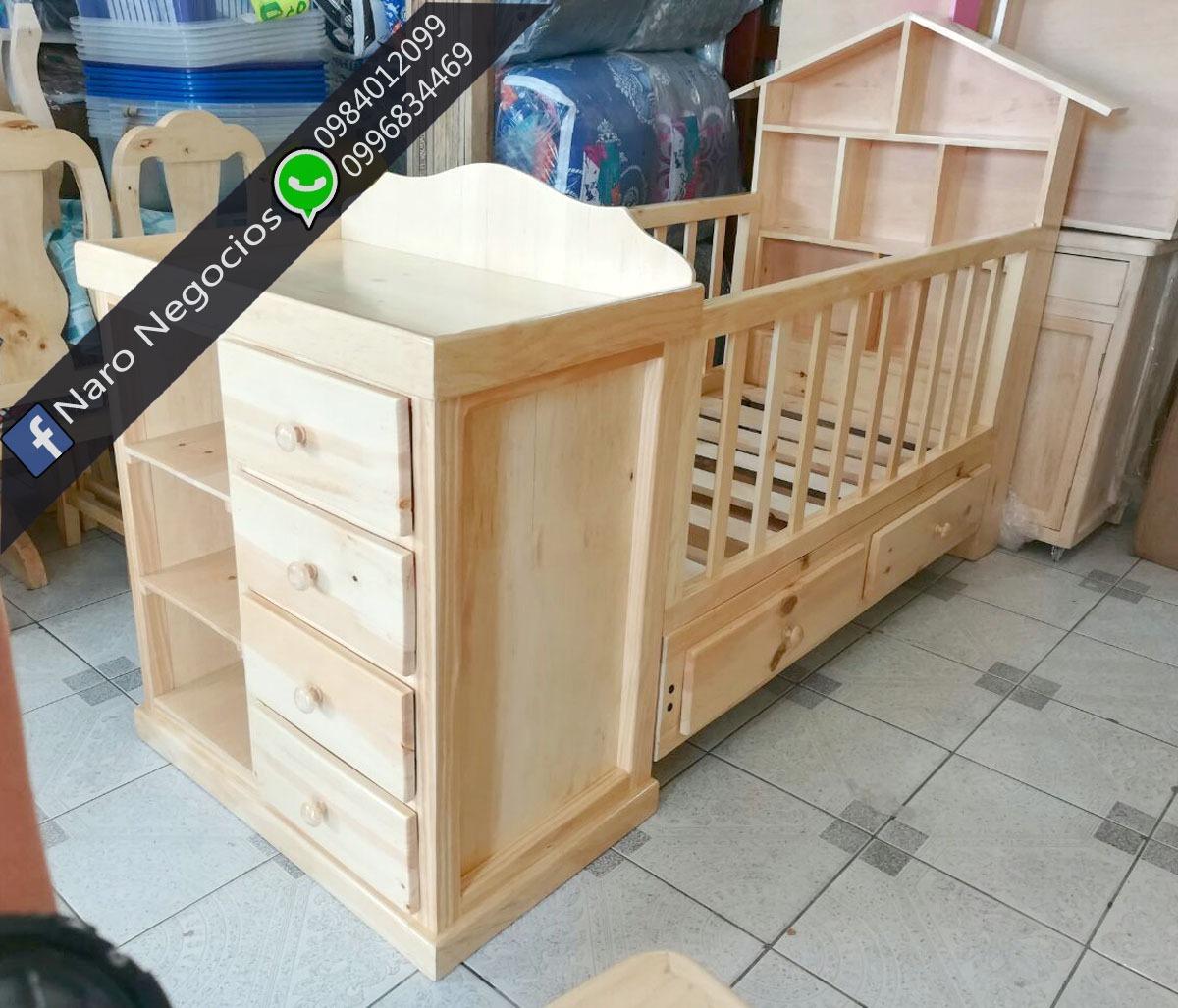 Cuna Cama Com Cambiador Para Bebe. Ademas Colchones Muebles - U$S ...