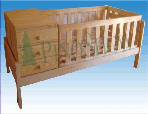 cuna cama funcional pino macizo + colchon + carro cajon