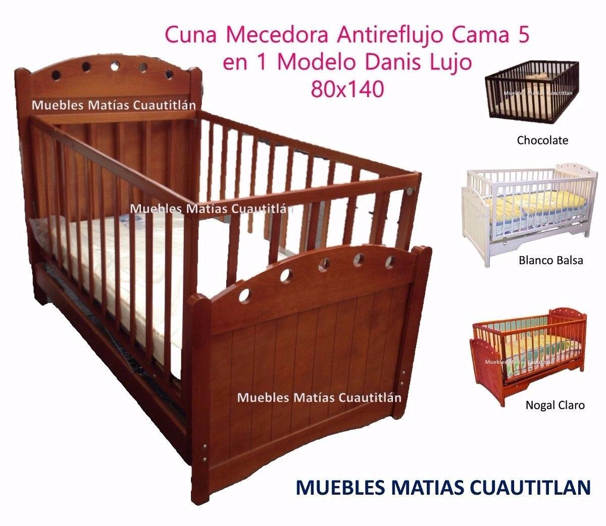 Cuna Cama Mecedora Funcional Madera Pino/mdf Colchon - $ 3,590.00 en ...