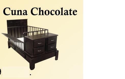 cuna con buros y barandales color chocolate y natidd