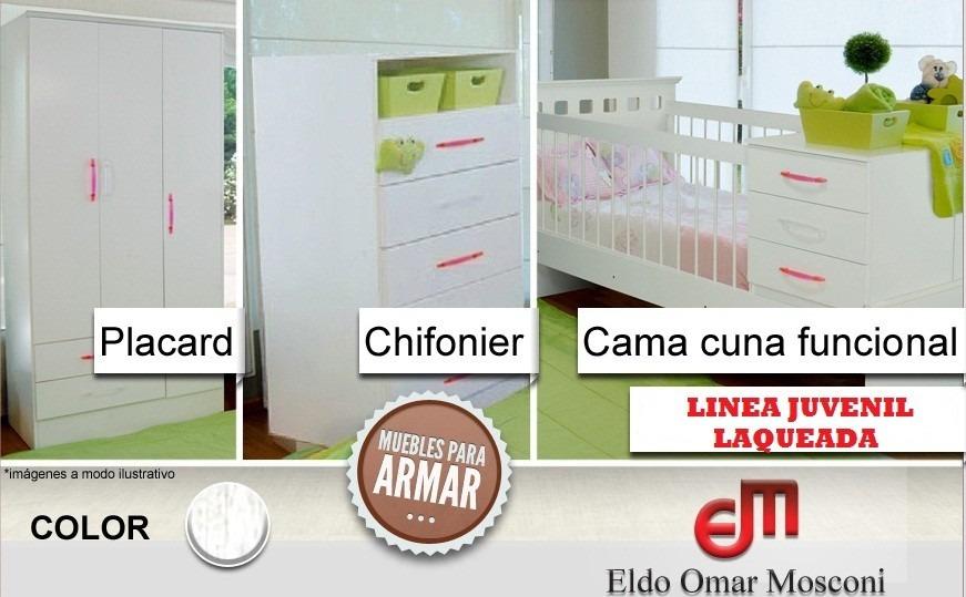 Cuna Funcional + Chiffonier 5 Cajones + Placard 3 Ptas. - $ 8.300,00 ...