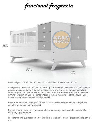 cuna funcional fragancia la valenziana convertible cuotas