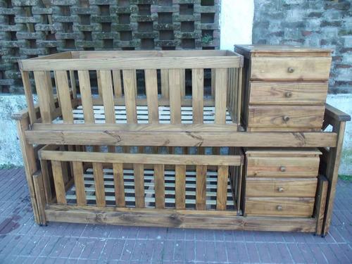 cuna funcional para mellizos doble triple puente madera