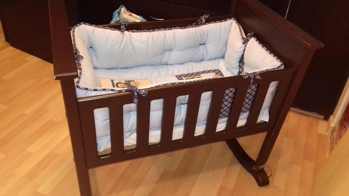 Cuna mesedora para bebe de madera con colchon 2 - Cuna de mimbre para bebe ...