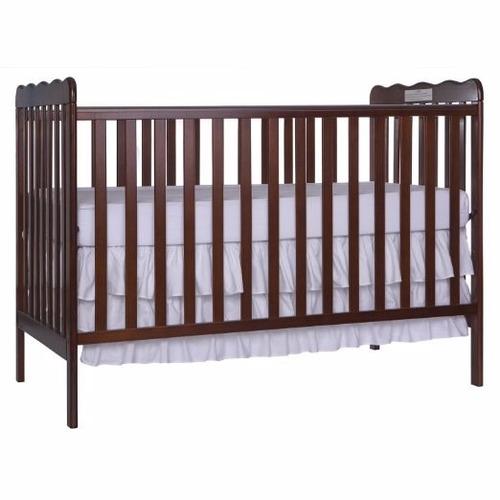 cuna nursery de madera, color marron oscuro somos tienda